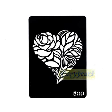 1 sheet new heart black flower design airbrush stencil