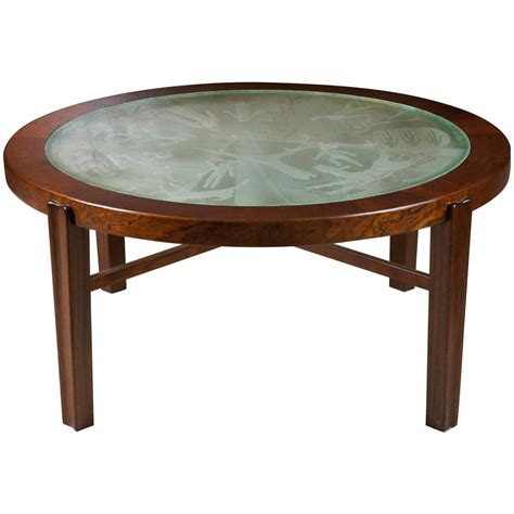 A Fine Swedish Low Coffee Table With Engraved Glass Top Low Coffee Table