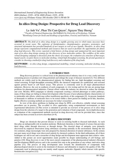 drug design discovery journal in silico drug design prospective for drug lead discovery