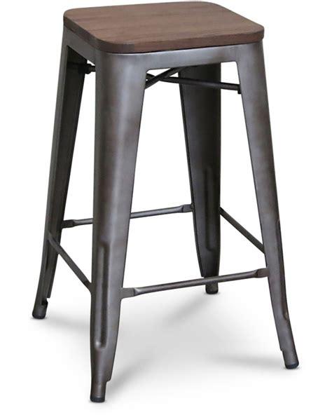 replica bar stool vintage rustic wood seat 75cm