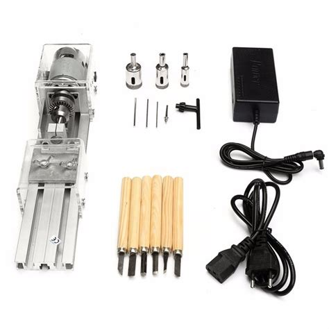 other tools drillpro mini lathe machine woodworking diy lathe set with dc 24v power adapter
