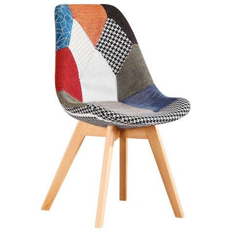 gambe per sedie sedia patchwork colorata in tessuto e gambe in legno per