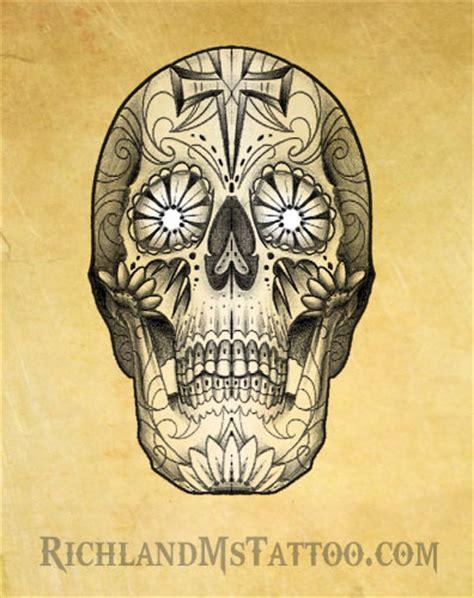 sugar skull tattoo design richland ms by jacksonmstattoo