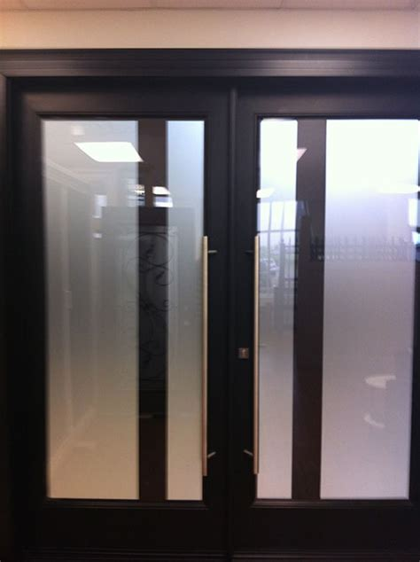 Modern Fiberglass Entrance Double Doors With Frosted Glass Contemporary Glass Front Doors