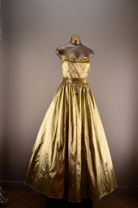 Dres 1980 Only 1980s Gold Dress 80s Prom Dress Size Medium Gold