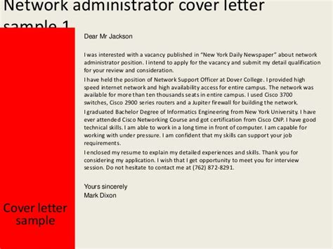 cover letter for network administrator network administrator cover letter
