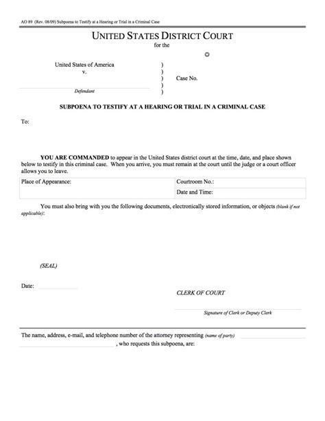 Civil Subpoena For Production Of Documents