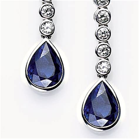 sapphire earrings 0.7ct sapphire and 1.6ct diamond drop