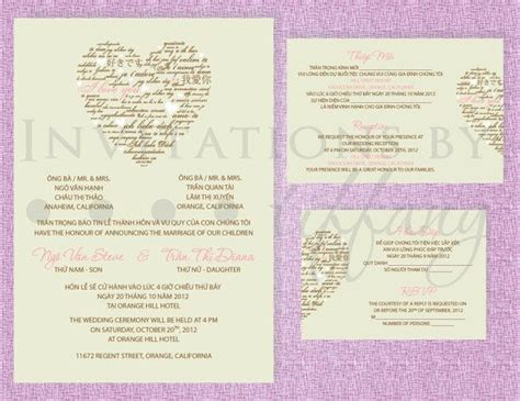 Printable Bilingual Vietnamese Wedding Invitation Set Invitation Reception And Rsvp Diana Bilingual Wedding Invitation Templates