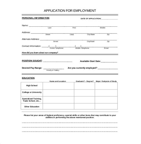 free printable application templates 15 employment application templates free sle