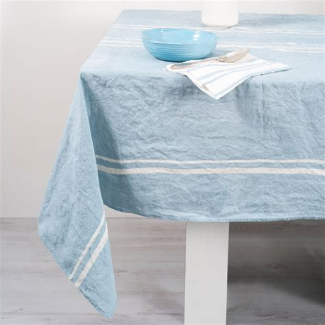 Linen Table Cloth by Handcrafted Italian Linen Tablecloth Linea Blue Allora