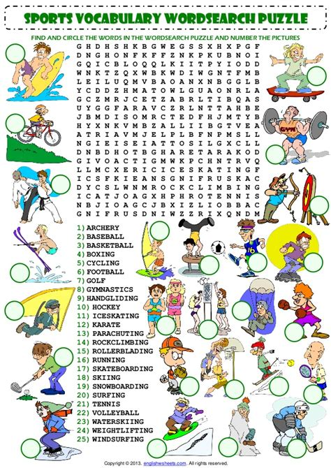 Search For You Sports Vocabulary Wordsearch Puzzle Worksheet