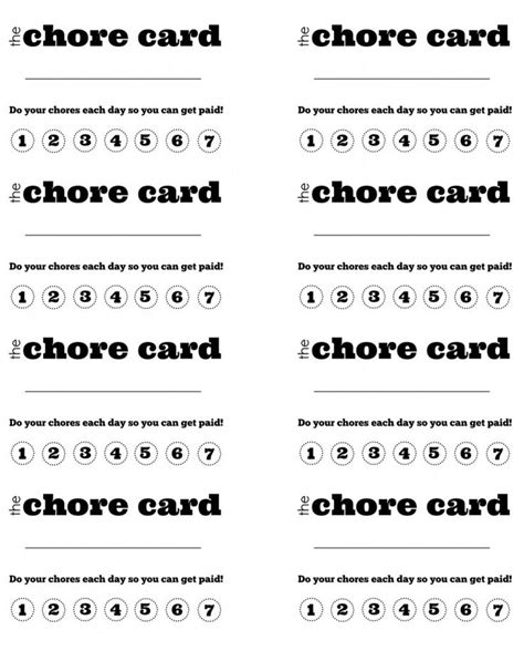 picture chore card template 6 best images of printable chore punch cards free