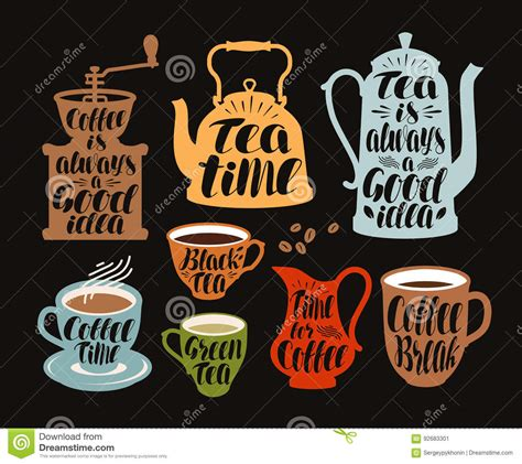Label Detox Tea Coffee Beverages by Drinks Tea Coffee Label Set Collection Decorative
