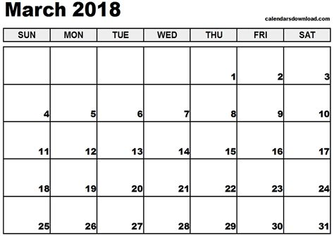 printable calendar for march 2018 march 2018 calendar printable cute journalingsage com