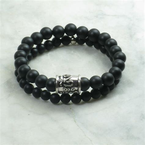 black bead bracelet mens nichiren bracelets for black agate mala mala