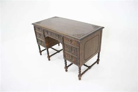 Antique Oak Writing Desk by Antique Scottish Carved Oak Barley Twist Writing Desk