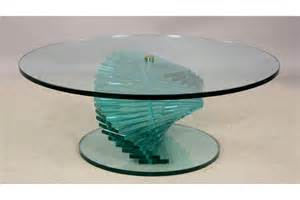 Glass Spiral Coffee Table A Stacked Spiral Glass Coffee Table With Large Top