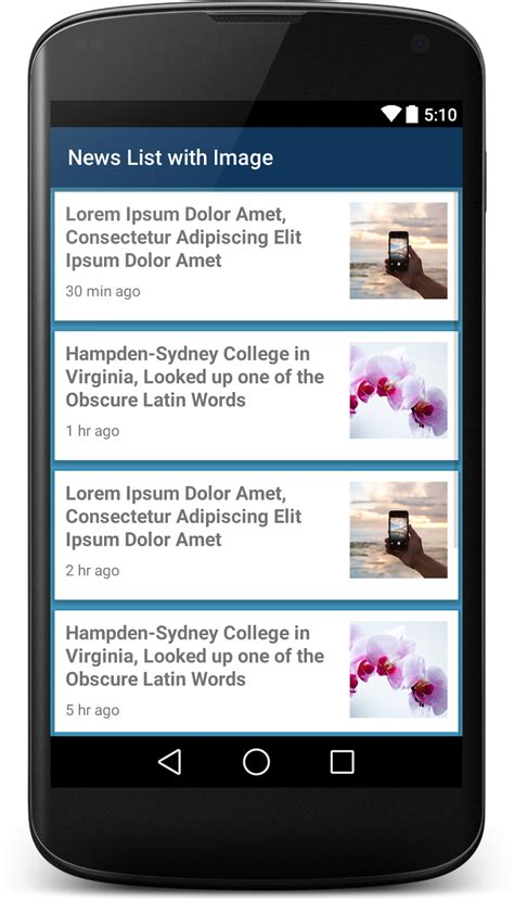 newspaper layout app news list xml ui design with image viral android