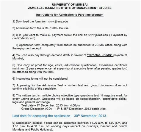 Jbims Executive Mba by Part Time Management Programme Admission Open At Jbims