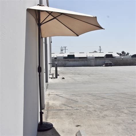 Patio Half Umbrella 10 Ft Half Patio Umbrella Beige Outdoor Wall Balcony Sun Shade Awning Ebay