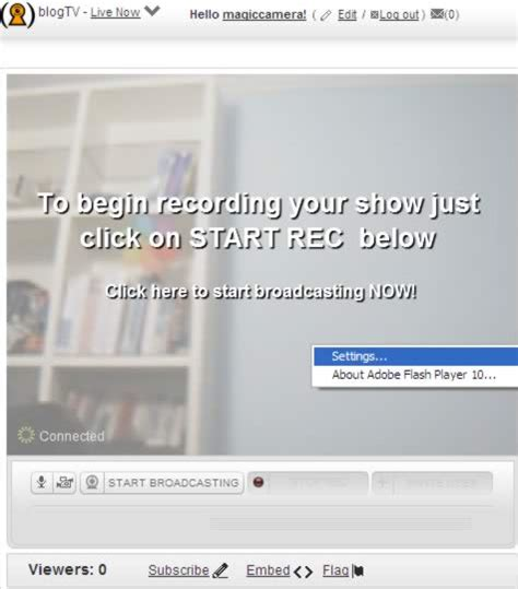blogtv captures flash howto configure magic camera on messengers and video chat