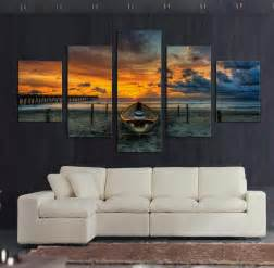 Large Wall Art For Living Room by 5 Pcs Large Hd Seaview With Shiptop Rated Canvas Print