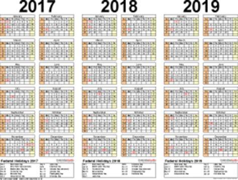 2017/2018/2019 calendar 4 three year printable pdf calendars