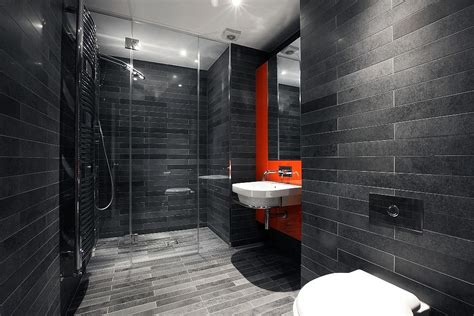 orange and black bathroom trendy bathrooms that combine gray and color in