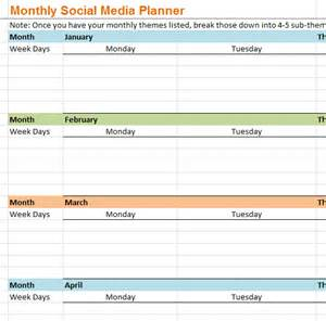 Social Media Planner Monthly Social Media Planner My Excel Templates