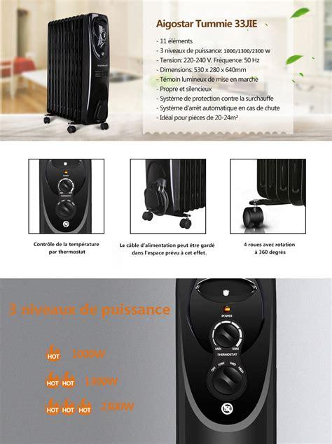 aigostar tummie 33jie radiateur 224 bain d huile portable 11 233 l 233 ments 2300 w 3 niveaux de