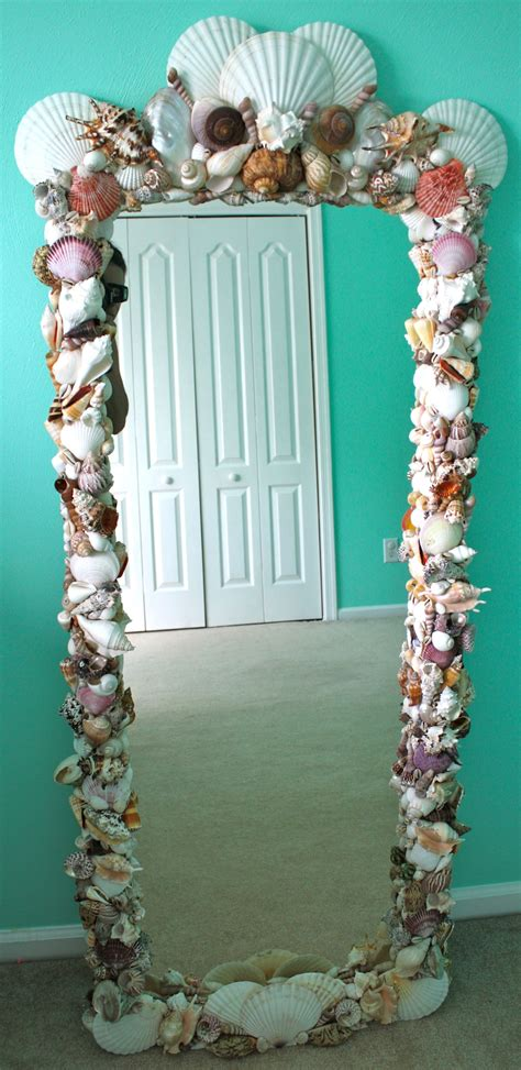 outstanding beachy bathroom diy shell mirror shell diy shell mirror purchased shells from michael s and other