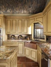 tuscan style kitchen cabinets tuscan kitchen with glazed cabinets and copper corner sink