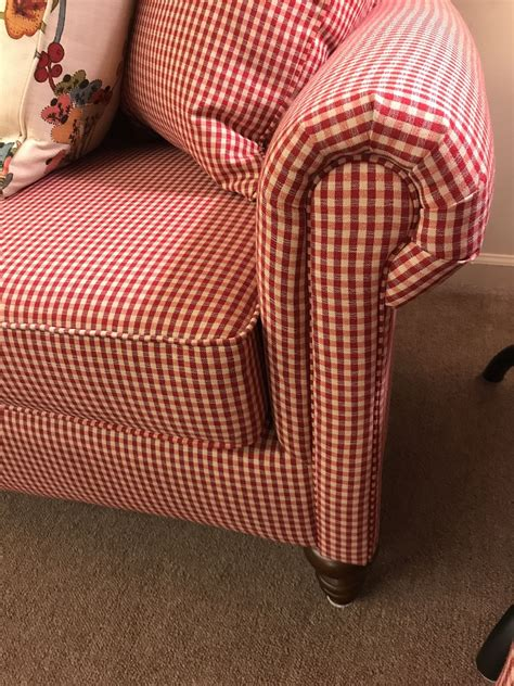 red white gingham sofa delmarva furniture consignment
