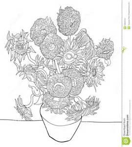 Van Gogh Flowers In Vase Sunflower Sketch By Van Gogh Stock Image Image 12849141