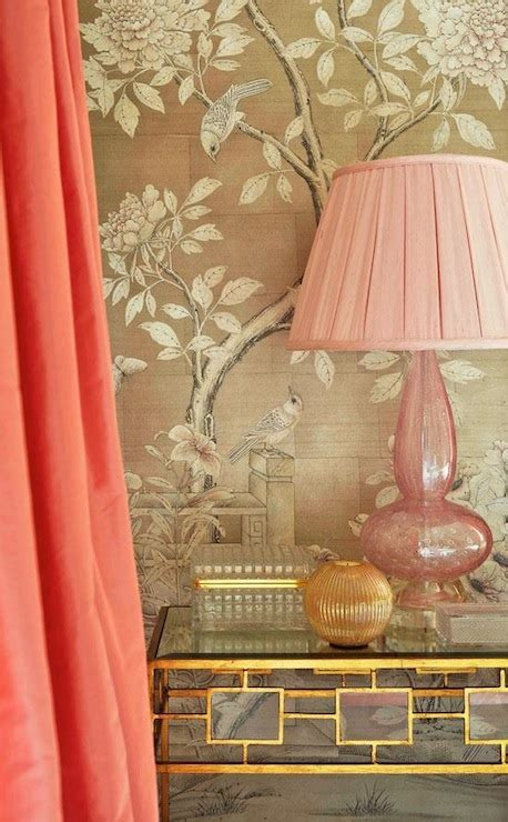 salmon pink curtains asian bedroom traditional home