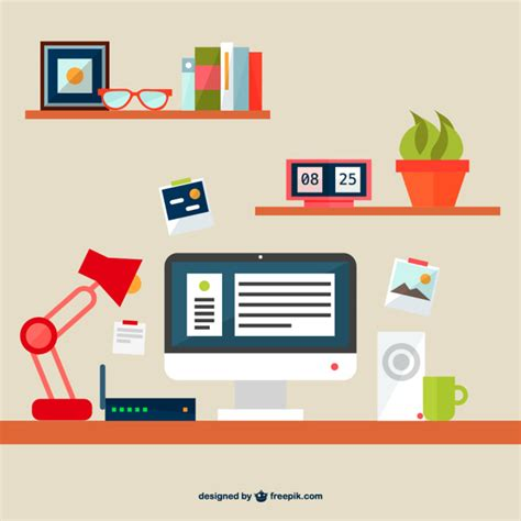 Office Desk Vector Free Flat Illustration Office Space Vector Free