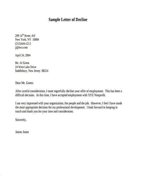 Decline Appraisal Letter decline letter offer 28 images 10 decline offer letter