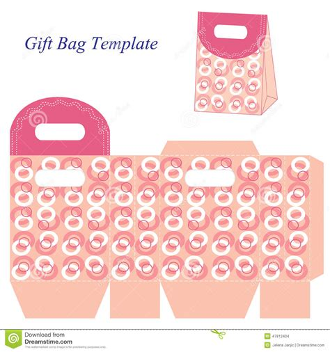 Gift Bag Cards For Baby Template by Pink Gift Bag Template With Circles Vector Illustration