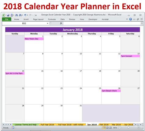 2018 Calendar Year In Excel Spreadsheet Printable Digital Download Buyexceltemplates Com 2018 Monthly Calendar Template Excel