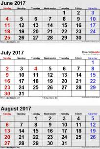 Calendar 2018 June July August July 2017 Calendars For Word Excel Pdf