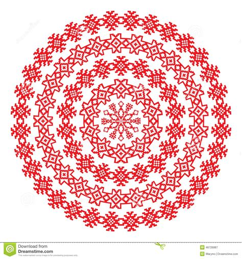 christmas pattern border nordic ethnic border round pattern in red color stock