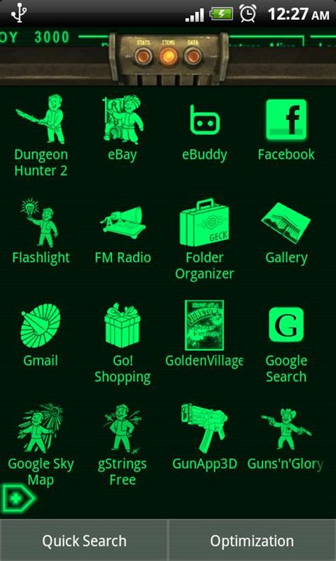 pipboy android pipboy 3000 fallout 3 theme androidapplications