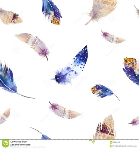watercolor feather pattern watercolor birds feathers pattern seamless stock