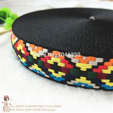 Ribbon Lc 1 30100 free shipping wholesale 1 25mmx10yards polyester woven jacquard ribbon multicolor geometric