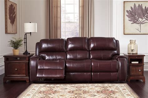 power reclining sofa with adjustable headrest gilmanton burgundy power reclining sofa with adjustable