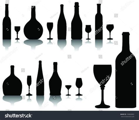 wine silhouette wine glass bottle silhouettes shadowsvector stock vector