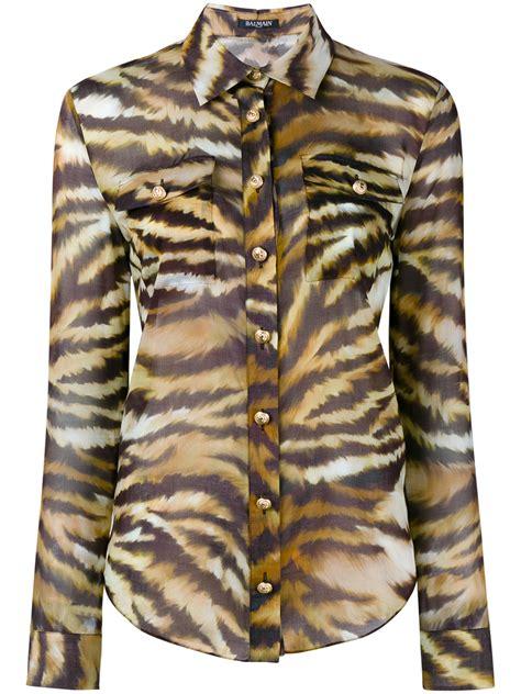 balmain tiger stripe print shirt lyst
