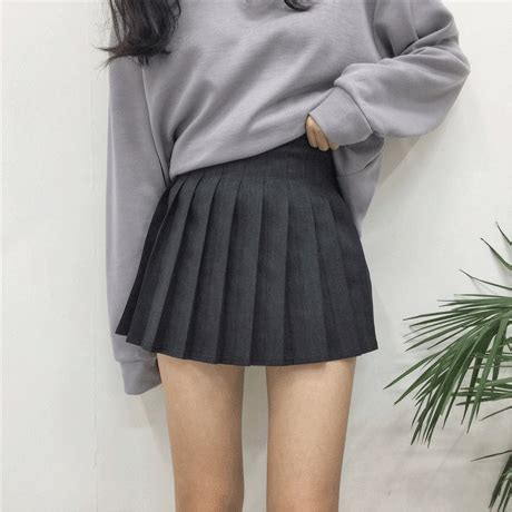 black and gray cotton pleated shorts skirt itgirl