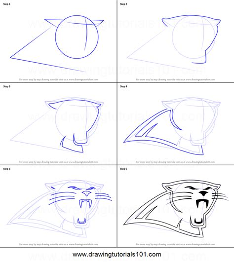 doodle drawing step by step how to draw carolina panthers logo printable step by step